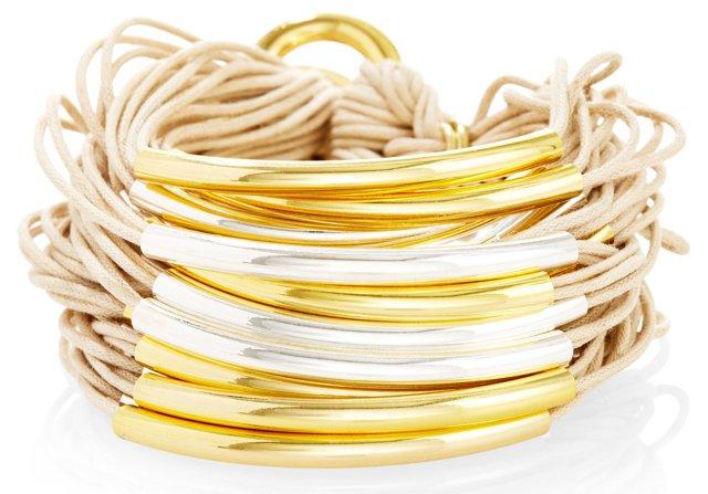 Silver/Gold Plate Strand Bracelet, Sand