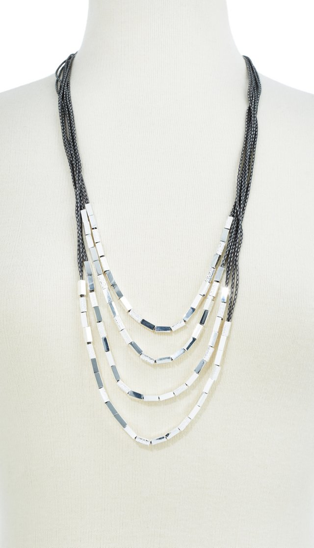 Silver Plated Sandblast Necklace, Slate