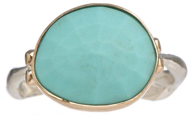 14K Gold Rose-Cut Turquoise Ring