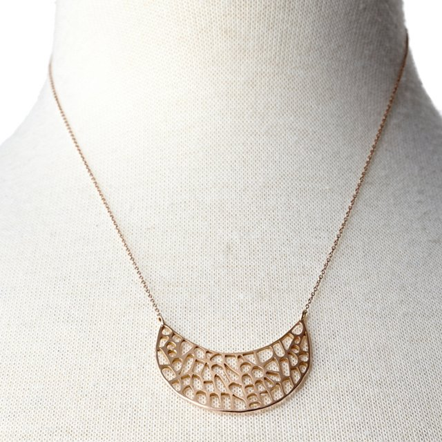 Small Seafan Crescent Rose Gold Necklace