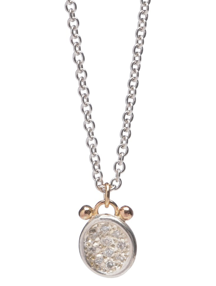 Silver Pavé Diamond Puddle Necklace