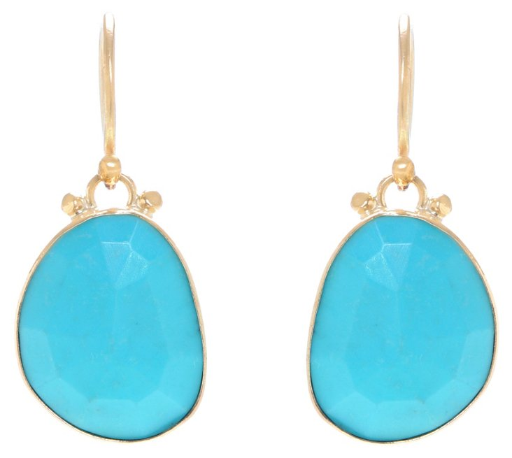 Rose-Cut Turquoise Earrings