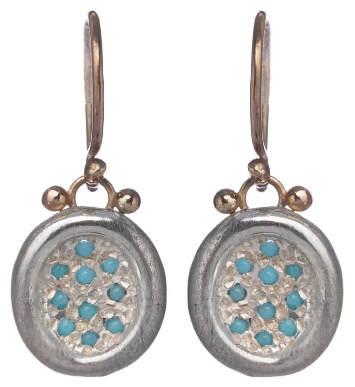 Turquoise Pavé Puddle Earrings
