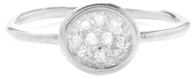 Sterling Silver Diamond Pavé Puddle Ring