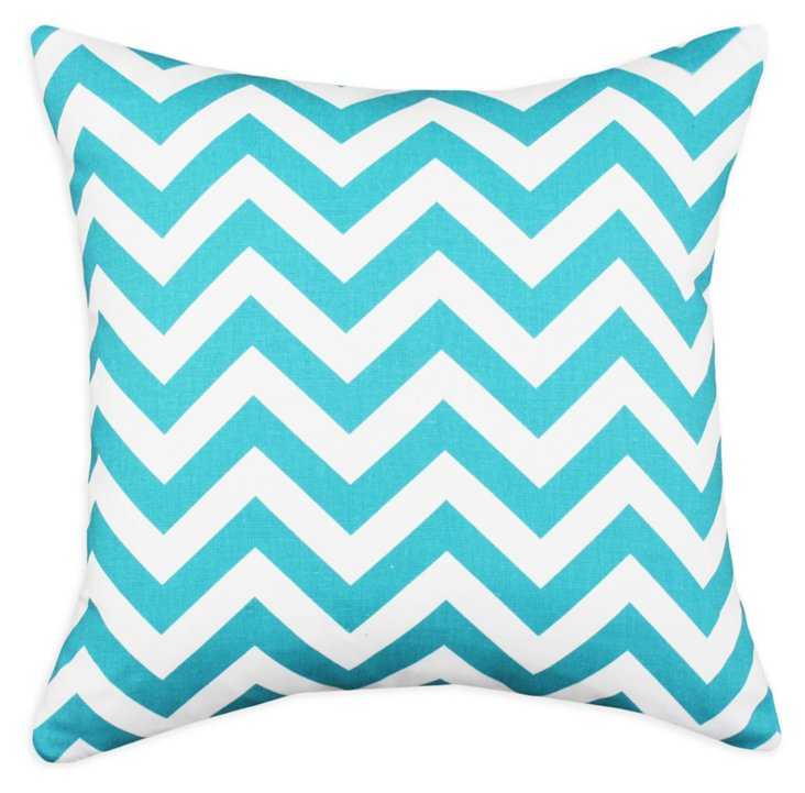 Chevron 17x17 Cotton Pillow, Turquoise