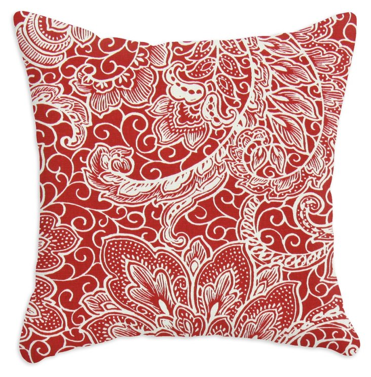 Mardi Gras 17x17 Cotton Pillow, Red
