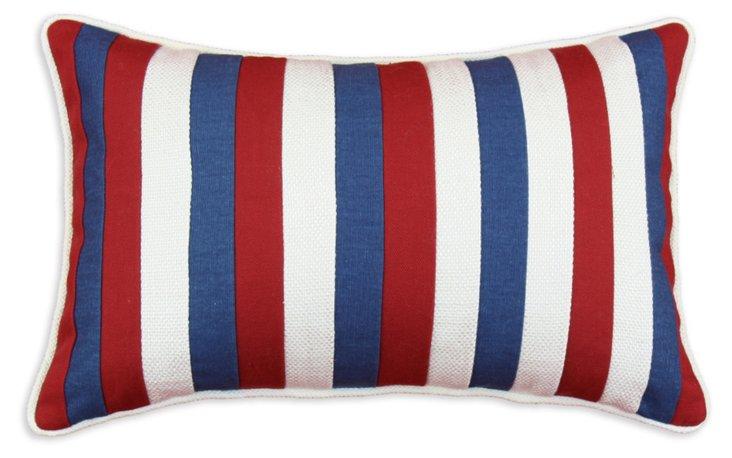 Stripes 12x19 Cotton Pillow, Red/Multi