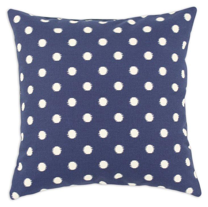 Ikat Dot 17x17 Pillow, Navy