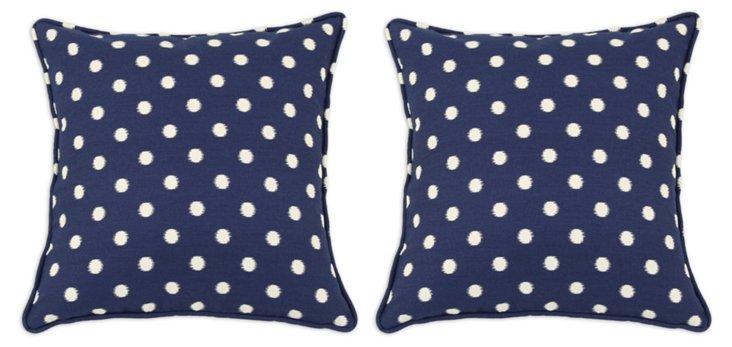 S/2 Dot 17x17 Cotton Pillows, Navy