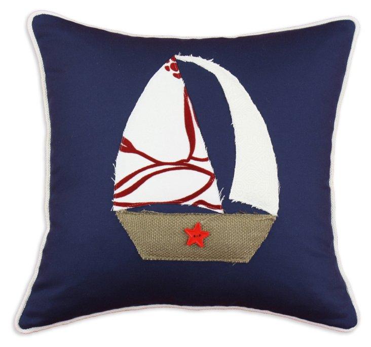 Sailboat 17x17 Cotton Pillow, Navy
