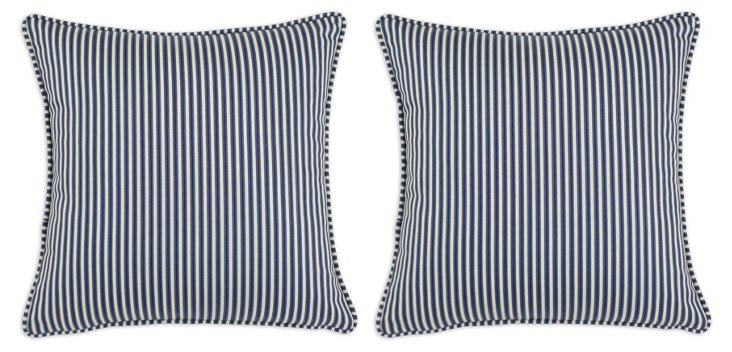S/2 Cornell 17x17 Cotton Pillows, Indigo