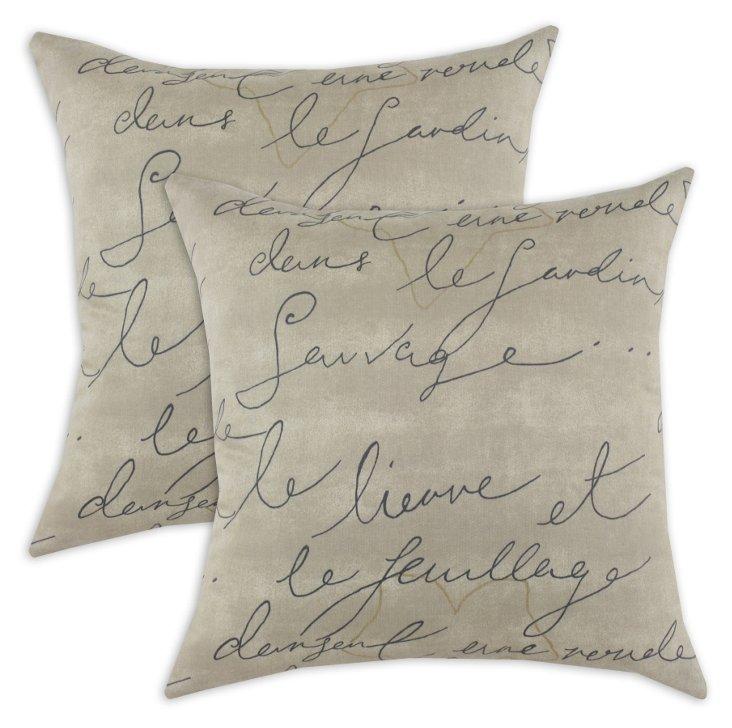 Set of 2 Pen Pal 17x17 Pillows, Tan