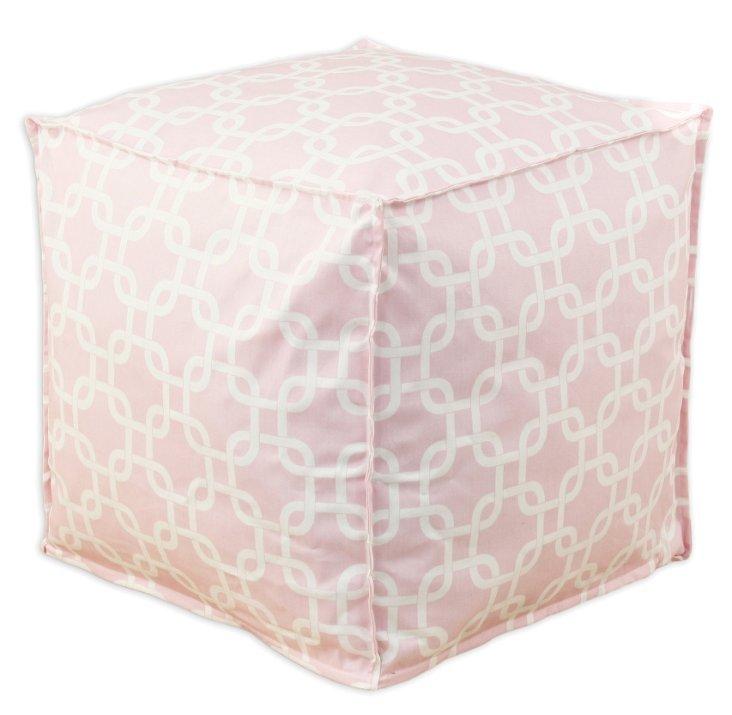 Abbey Pouf, Light Pink/White