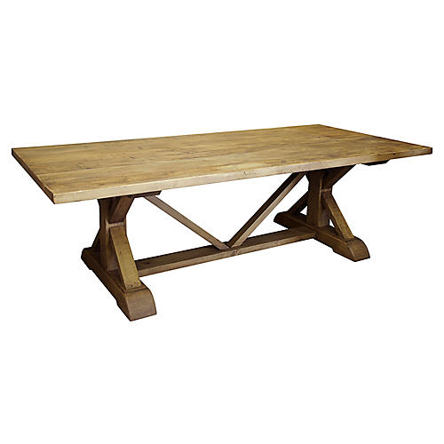 "108"" Trestle Dining Table, Medium Brown Wax"