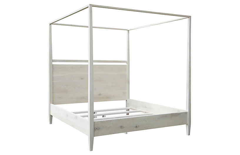 Modern 4-Poster Bed, Reclaimed Oak