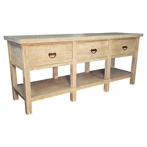 Reclaimed 3-Drawer Console, Unfinished