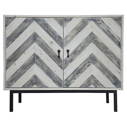 Reclaimed Chevron Cabinet, Whitewash