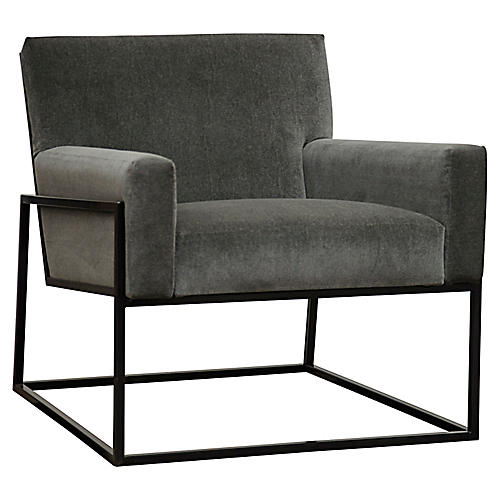 Curtis Accent Chair, Gray Velvet