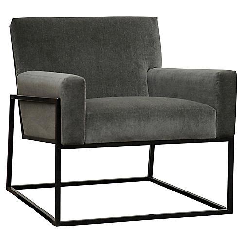 Curtis Accent Chair, Gray Velvet