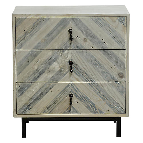 Chevron Nightstand, Whitewash