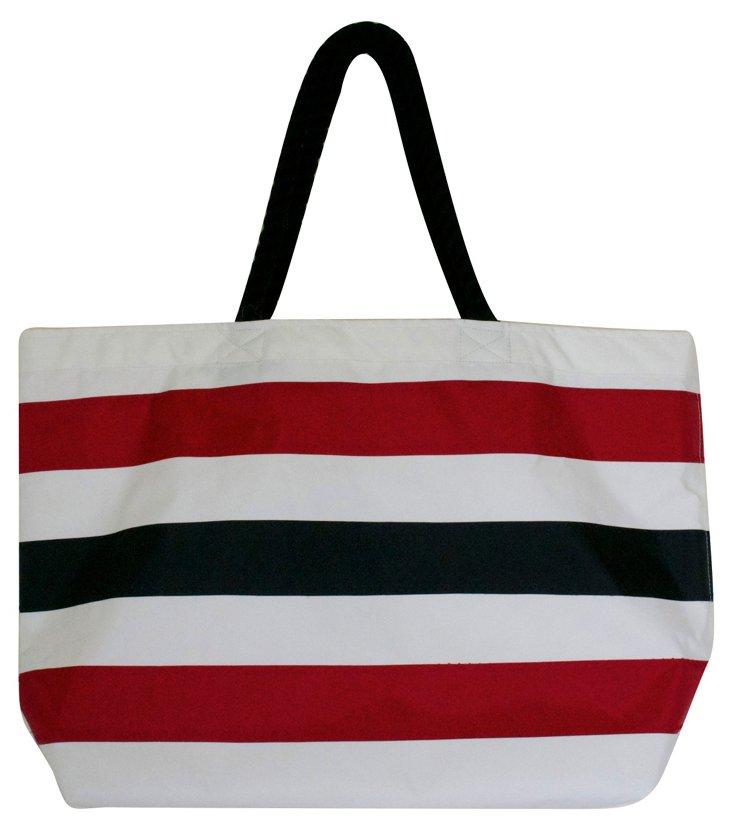 Striped Overnighter Tote, Red/Black