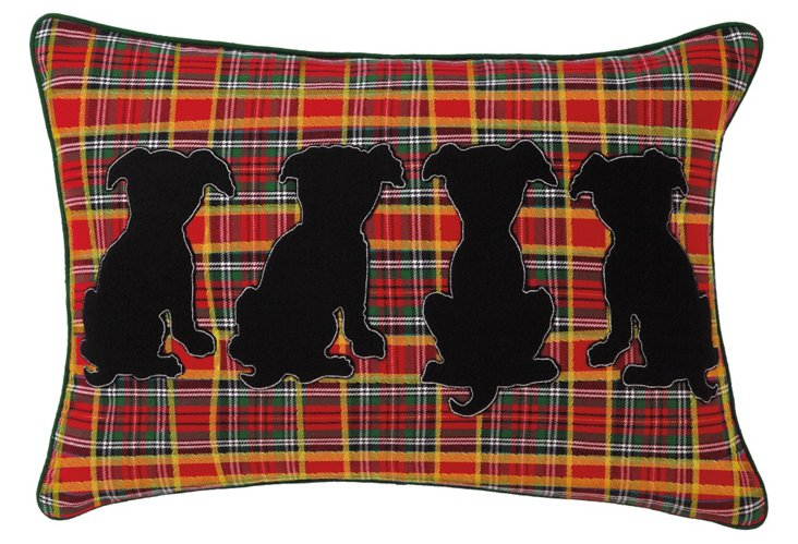 Puppy Tails 14x20 Pillow, Red