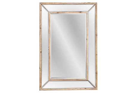 Pine Wood Mirror, Natural/Clear