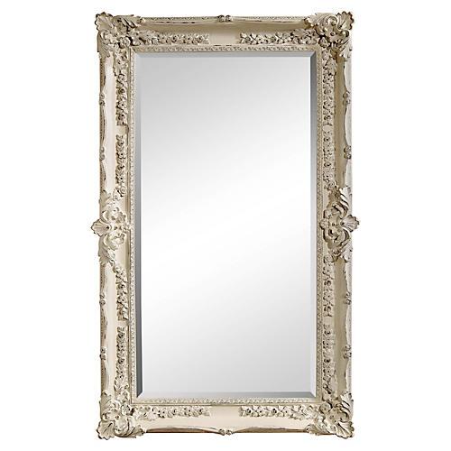 Rococo Floor Mirror, White