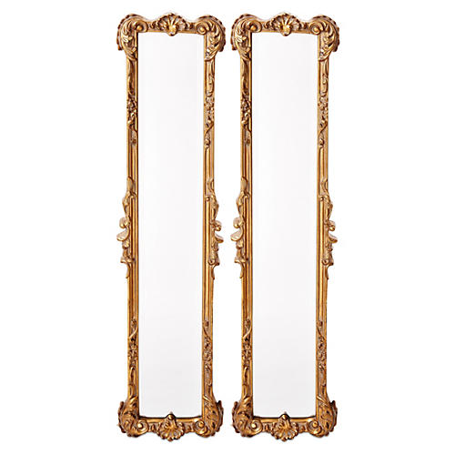 "Ferrara 12""x50"" Oversize Mirror Set, Gold Leaf"