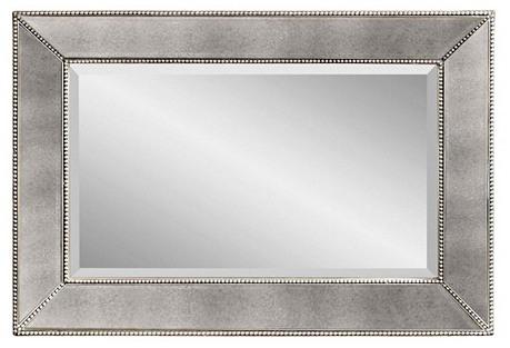 Mirrored Frame Mirror, Silver