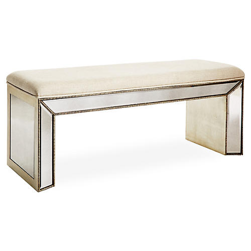 Noelle Mirrored Linen Bench, Cream