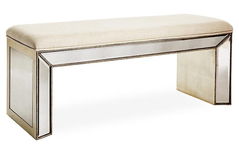 Noelle Mirrored Bench, Cream Linen