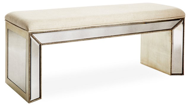 Jane Linen Mirrored Bench