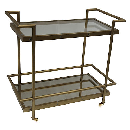 Olivia Antiqued Bar Cart, Brass