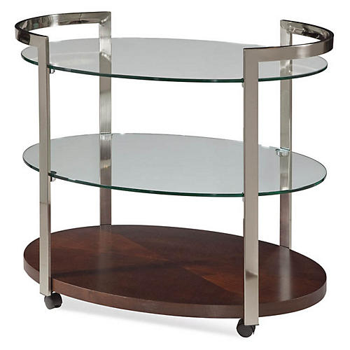 Briana 3-Shelf Round Bar Cart, Silver