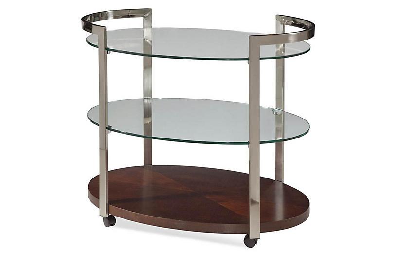 Briana 3-Shelf Round Bar Cart, Silver