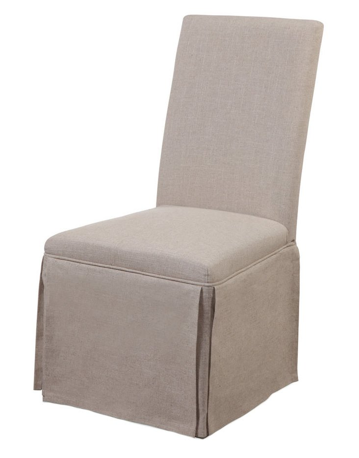 Amelia Skirted Parsons Chair, Beige