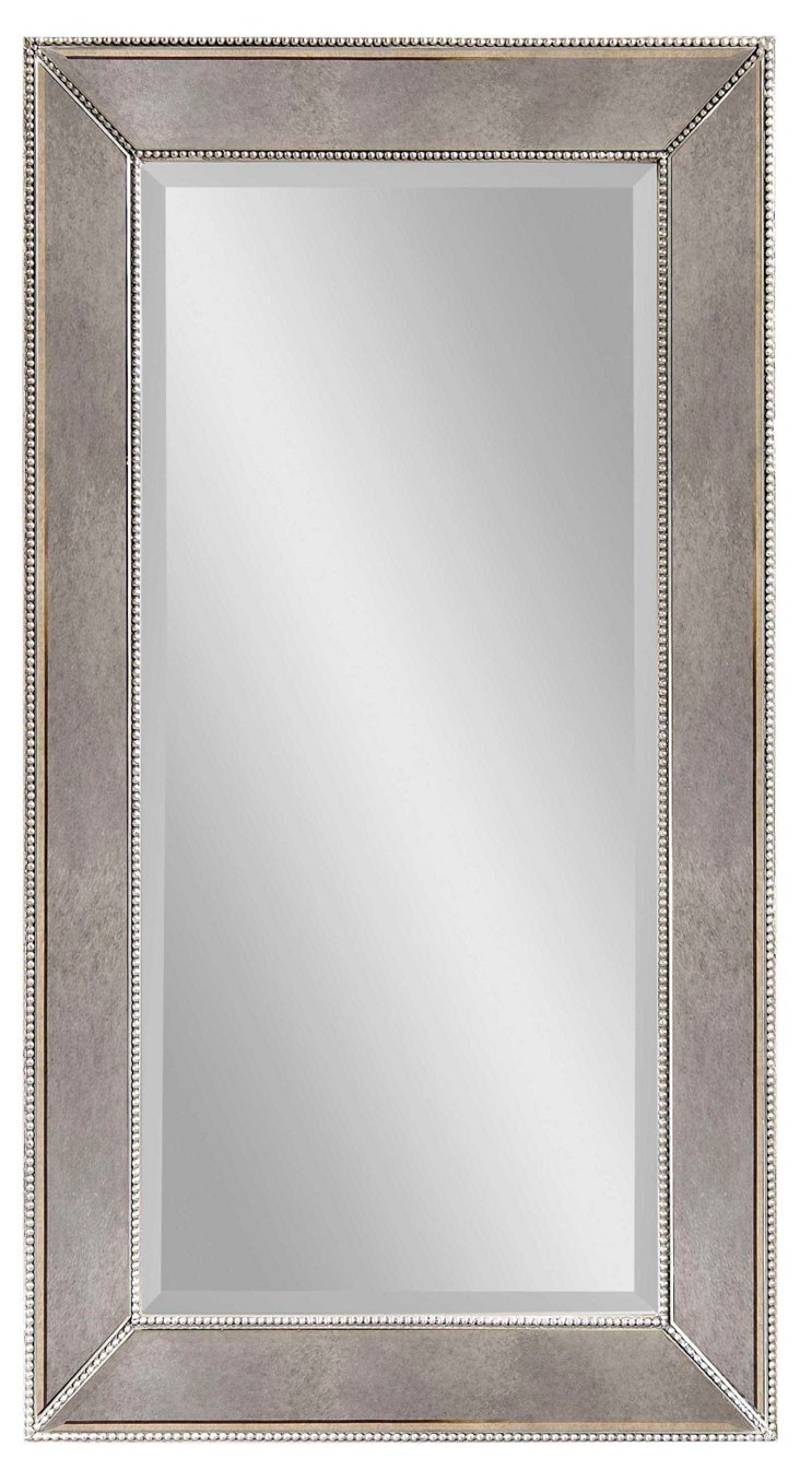 Beaded Oversize Mirror, Silver