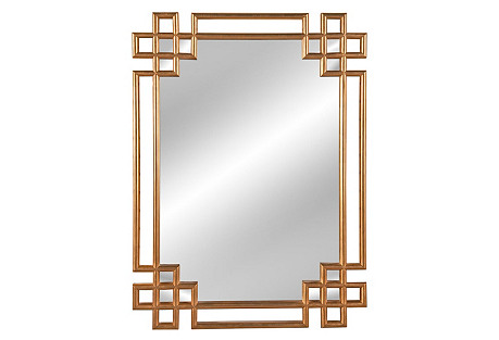 Fretwork Frame Mirror, Gold