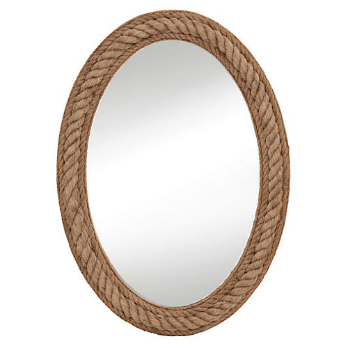 Rope Oval Wall Mirror, Natural