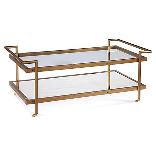 Briana 2-Shelf Coffee Table, Brass