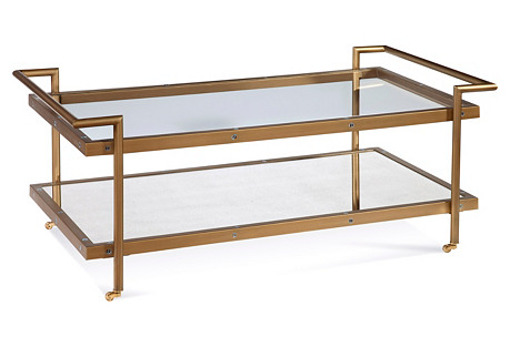 Briana 2-Shelf Coffee Table, Brass