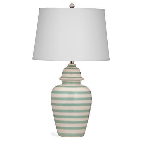 Striped Table Lamp, Aqua Stripe
