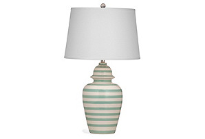 Striped Table Lamp, Aqua Stripe*