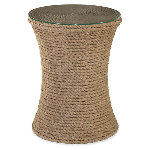 "Olivia 24"" Woven Side Table, Rope"