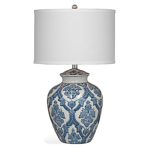 Camden Tabke Lamp, Blue/White