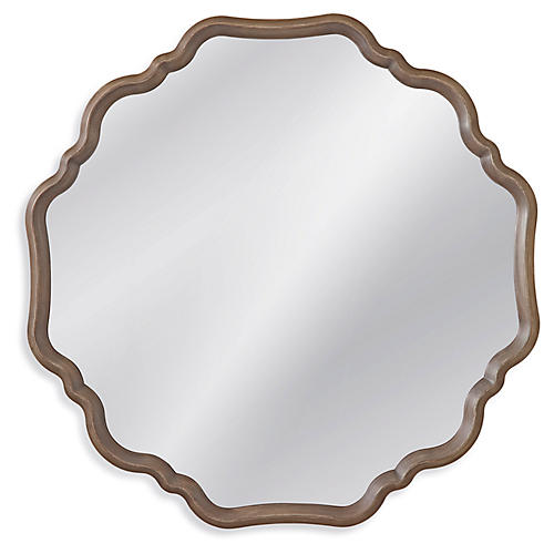"Holly 40"" Wall Mirror, Gray"