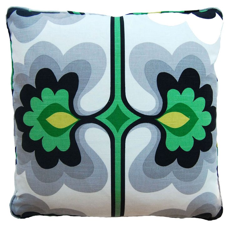 Mirror 22x22 Pillow, Green/Multi