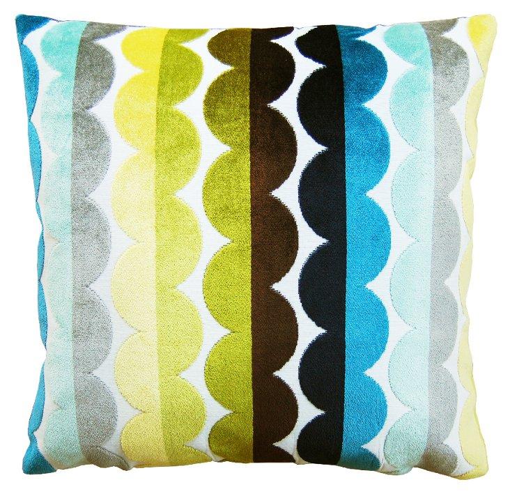 Curved Stripe 22x22 Pillow, Multi