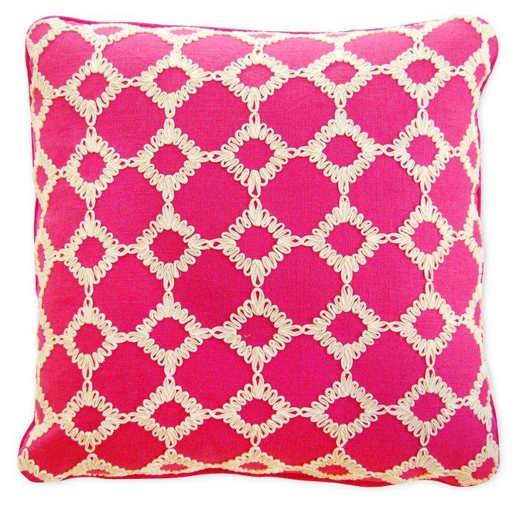 Diamond 22x22 Linen-Blend Pillow, Pink